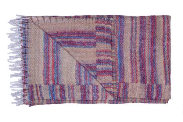 Plaid Beige met paarse strepen