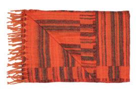 Plaid Oranje met groen/rode strepen
