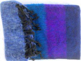 großer Schal blau purpur gestreift