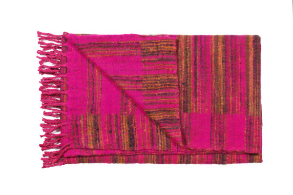 Plaid roze met gele strepen
